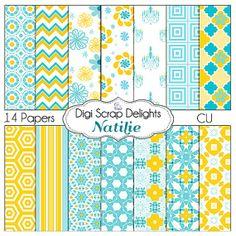 Natilie Digital Scrapbook Paper  in Aqua Blue by DigiScrapDelights Aqua Blue & Yellow Orange Gold