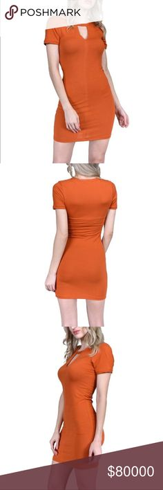 🆕 (Medium) Burnt Orange Cut Out T-Shirt Dress Soft Material!    *Color: Burnt Orange *Condition: New  *Size: Medium *Material: 92% polyester 8% spandex *Bust Size: 30 inches *Length: 33 1/2 inches long   ♥ I am from a smoke free home.  ♥ I have cats and a dog. I always make sure my clothing is fur free, but sometimes there could be a stray hair or two left. Dresses