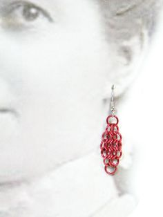 Red Chainmaille Earrings Handmade From Anodized by TangledMetal