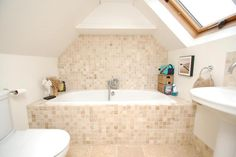 ... contemporary simple beige white bathroom loft conversion with mosaic