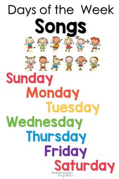 A great list of calendar songs, perfect for use in circle time or when learning the days of the week! Your childhood favorite is on there too. It also includes sign language songs and songs in Spanish. Kindergarten Songs, Preschool Songs, Preschool Curriculum, Preschool Themes, Preschool Learning, Preschool Activities, Teaching, Indoor Activities, Homeschooling