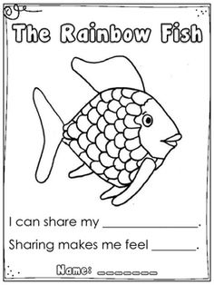 """Another quick creation I thought I would share. I read the book """"The Rainbow Fish"""" to my Kindergarten class (also available in video format on YouTube or through Storyline Online). After the story, I lead a discussion about the importance of sharing. I asked my students what their most precious thing was."""