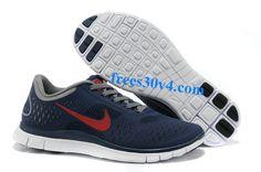 Midnight University Red Charcoal White Nike Free 4.0 V2 Men's Running Shoes