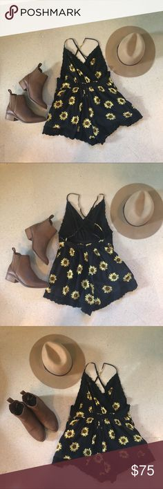 Sunflower Romper one of my favorite articles of clothing that I own.  I just dont find myself wearing it as much as I should! Please feel free to leave questions below and leave an offer:) Happy Poshing! (first picture is from pinterest, rest are mine) LF Dresses