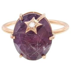 Andrea Fohrman Amethyst and Rutilated Quartz Mini Star Ring ($1,980) ❤ liked on Polyvore featuring jewelry, rings, purple, 18 karat gold ring, handcrafted rings, star jewelry, rutilated quartz ring and purple ring