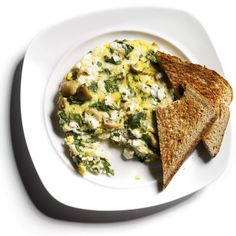 Egg-White Frittata with Feta, Spinach, and Mushrooms  http://www.rodalewellness.com/food/flat-belly-breakfast-recipes/slide/14