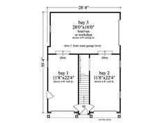 "**(28'8"" X 39'4"")  Garage Apartment Plan, 053G-0004, 2 car plus additional bay for workshop/mowers"