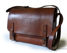 Vintage French Postman Leather Bag embossed PTT by LaLoupiote, $330.00