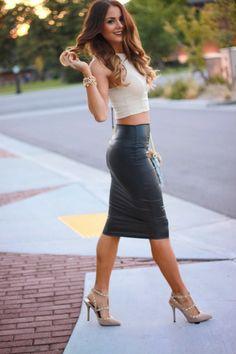 idée de style vestimentaire femme jupe simili cuir idée tenue stylée Jupe  Crayon Simili Cuir, 7e624b081dd6