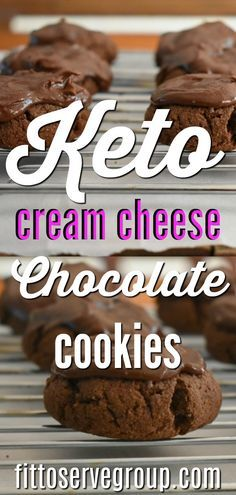 These keto cream cheese chocolate cookies are rich chocolate cookies that melt i. - These keto cream cheese chocolate cookies are rich chocolate cookies that melt in your mouth, but that you can somehow still sink your teeth into. Keto Desserts, Keto Snacks, Dessert Recipes, Dinner Recipes, Dessert Ideas, Keto Desert Recipes, Dinner Dessert, Snacks Recipes, Cookie Recipes