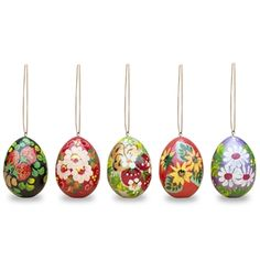 """2.5"""" Set of 5 Flowers Wooden Pysanky Easter Egg Ornaments - Easter Egg Ornaments 