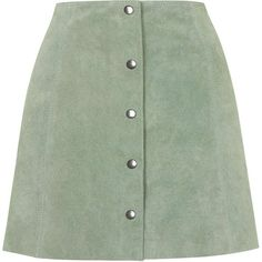 TOPSHOP Suede Button Front A-Line Skirt ($140) ❤ liked on Polyvore featuring skirts, bottoms, green, green a line skirt, suede skirt, a line skirt, knee length skirts and topshop skirts