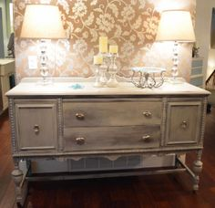 Vintage Pre-WW1 buffet sideboard perfect for dining storage or as an entry table! Painted with Annie Sloan then given a wash/distressed effect. Mercury Glass knobs for a bit of glam ;)