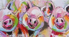 schilderij drie varkens varkens kleurrijk vrolijk modern