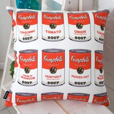 Brand New Andy Warhol Style Can Pattern Cotton Deco Cushion Cover / Pillow case #evei