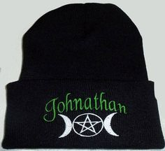 Personalized Winter Beanie Hat Embroidered Triple Moon With Pentacle Wiccan Pagan Wiccan Pagan Black Beanie   wiccan clothing