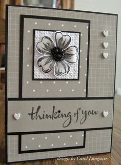 Our Little Inspirations: You're In My Thoughts-The flower was done with the SU! flower shop/pansy punch, and I added some black rhinestones to the center with Pizzazz Aplenty gemstones. The white panel was embossed with the SU! square lattice ef, sentiment by Hero Arts, and the finishing touches were some tiny white heart-shaped brads.