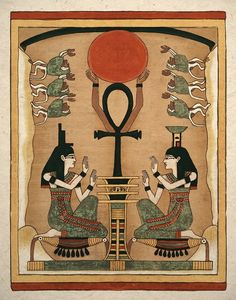 Art print of the ancient Egyptian sister goddesses Isis and Nephthys. These powerful sisters are seen on many sarcophagus because they have the power of resurrection. They are seen here about to resurrect Osiris from the dead where he will become god of the underworld. This was drawn from the original papyrus painting.