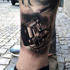 Manly Tattoo Gun Designs On Legs Hai Tattoos, Best Leg Tattoos, Tattoos For Guys, Badass Tattoos, Awesome Tattoos, Skull Tattoos, Sleeve Tattoos, Bullet Designs, Filipino Tattoos