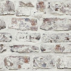Trent Austin Design Alvara Whitewashed Wall White x Brick Wallpaper Textured Brick Wallpaper, Brick Wallpaper Roll, Brick Wall Kitchen, White Wash Brick, Brick Texture, Rock Wall, Whitewash, Brewery, Laundry Room