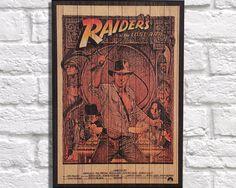 WOOD PRINT, wood wall art, Rustic wood print. Raiders of the Lost Ark panel effect art print on wood. Home decor, retro movie poster print