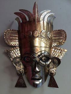 Large Mexican Hojalata Tin Art Mask with Blue by huntergathererbiz
