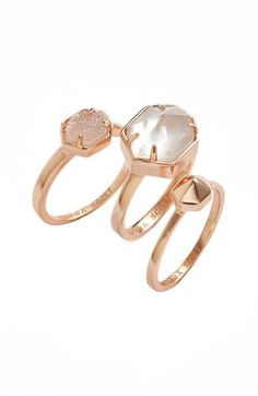 This trio of rose gold rings create the ultimate cool-girl look with stunning centerpieces that sparkle and shine.