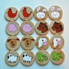 Memory Game Farm Animals Waldorf toy Game by 2HeartsDesire on Etsy, $12.00 Hand…