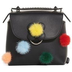 Women's Fendi Mini Back To School Genuine Mink Fur Pompom Leather Shoulder Bag