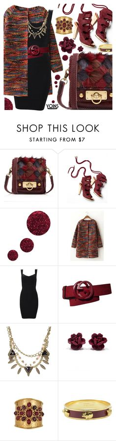 """""""Yoins IV"""" by pastelneon ❤ liked on Polyvore featuring Anna Sui, Derek Lam, Topshop, Gucci, Alexander McQueen, chic, LBD, burgundy, coat and yoins"""