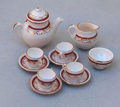 Vtg Dollhouse Miniature SW Sovereign Red China Teapot Teacup Creamer Set Artisan #StokesayWare