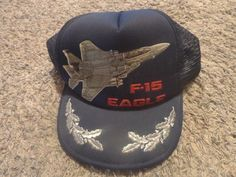 NOS! VINTAGE US MILITARY AIRCRAFT F-15 EAGLE CAP HAT AIR FORCE Plane boeing