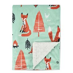 Boritar Fox Baby Blanket -Soft Minky with Double Layer Dotted Backing- Ultra Soft and Cute Kids Blanket for Toddler Bed, Green Best Baby Blankets, Kids Blankets, Receiving Blankets, Soft Blankets, Kids Trike, Baby Shower Gifts, Baby Gifts, Minky Baby Blanket, Cute Kids