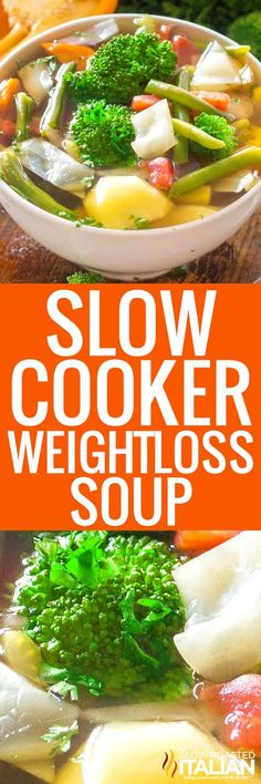 Slow Cooker Weight Loss Soup is a ridiculously easy to make recipe packed with veggies and it will help you detoxify your body! Slow Cooker Weight Loss Soup is a ridiculously easy to make recipe packed with veggies and it will help you detoxify your body! Crock Pot Soup, Slow Cooker Soup, Crock Pot Cooking, Slow Cooker Recipes, Crockpot Recipes, Soup Recipes, Vegetarian Recipes, Cooking Recipes, Healthy Recipes
