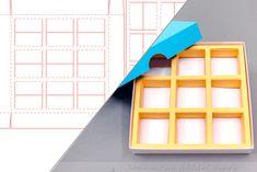 Schneidplotter-Datei für eine Verpackung mit neun kleinen Innenfächern