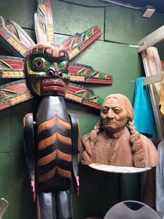Totem and bust adorning the crafters are in Qualicum Trading Post, 3910 Alberni Hwy, Qualicum Be