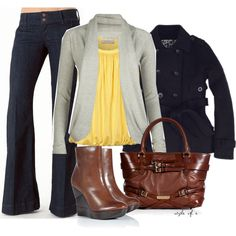 Navy peacoat, pale gray lightweight cardigan, banana yellow gathered neckline top, dark-wash jean, brown platform boots.