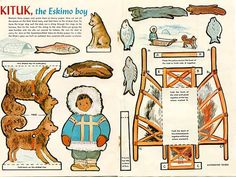 Vintage 1950's Kituk the Eskimo Boy Uncut Paper Doll Sheet, Eskimo Child, Sled Dog, Sled on Etsy, $9.50