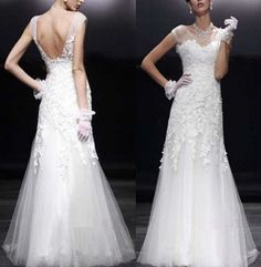 Vintage High Quality Cap Sleeve Lace Wedding Dress by C1005, $169.00