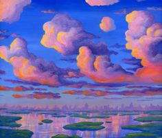 Thunderstorm Clouds At Sunset painting, Tableau des Grand Nuages, Cuadro de Tormentas Electricas