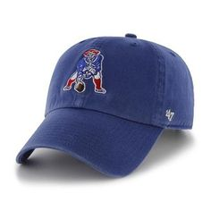 d768d070714 The Throwback Clean Up Cap-Royal is another addition to our extensive  collection of hats for men. The classic New England Patriots logo is on the.