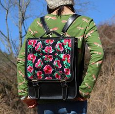 100% handicraft Topgrade cowskin ethnic embroidery backpack