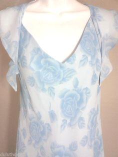 Davids Bridal Women's Dress, Size 16, Flutter Sleeve Floral Print Blue Dress  #DavidsBridal #FlutterPrintDress