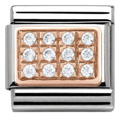 Create a glamorous finish to your Nomination bracelet with this beautiful charm, expertly crafted in Italy from stainless steel with striking white cubic zirconia crystals set in rose gold for a sparkling finish. Nomination Charms, Nomination Bracelet, Jewellery Uk, Jewelry, Rose Gold Color, Silver Roses, Bracelet Watch, Pandora, Charmed