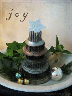 """Vintage Metal Flower Frog Tree ~ """"Junky"""" Christmas"""
