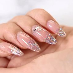 33 ideas of glitter ombre nails 60 Polygel Nails, Sky Nails, Light Nails, Bling Nails, Gel Manicure, Cute Nails, New Nail Polish, Gel Nail Art, Pink Gel