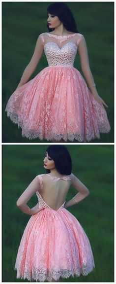 A-Line Lace Beading Short Prom Dresses,Homecoming Dress, Homecoming Dresses On Lace Homecoming Dresses, Junior Bridesmaid Dresses, Short Dresses, Girls Dresses, Formal Dresses, Flower Girl Dresses, Pink Dresses, Chiffon Dresses, Fall Dresses