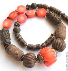 """Купить Колье """"Туземка"""" - коралловый, коричневый, колье с кораллом, этническое колье, этно стиль, Керамика"""