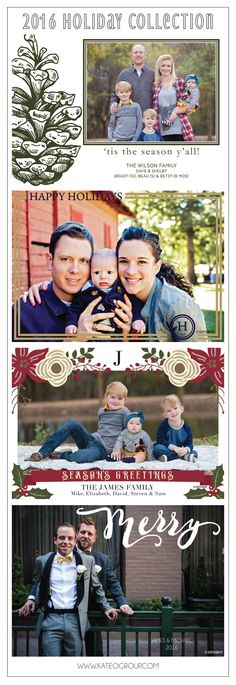 2016 Holiday Collection of Holiday Photo Cards by KateOGroup #HolidayCards #HolidayPhotoCards #ChristmasCards #TisTheSeason #SeasonsGreatings #HappyHolidays #Merry  www.KateOGroup.com