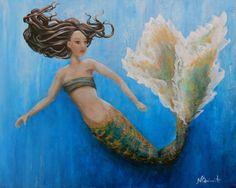 Original mermaid painting mermaid art original by NancyQart
